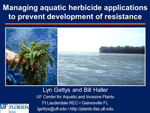 Managing Aquatic Herbicide Applications to Prevent Development of Resistance